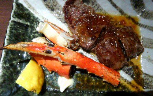 夕食バイキング 牛ステーキ&焼きカニ