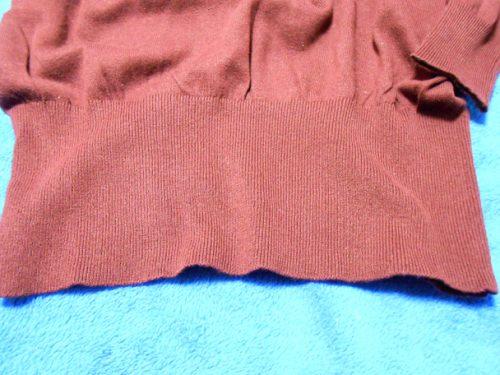 綿100%Vネックセーター(裾リブ)