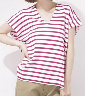 吉岡里帆 赤のボーダ―Tシャツ