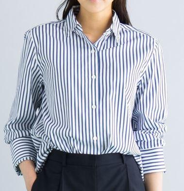 石田ゆりこ ストライプのシャツ