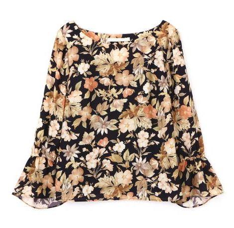 スーツ 新木優子 花柄 ブラウス